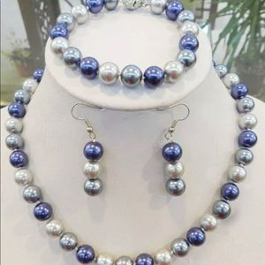 Blue/Gray/Gray 8MM Shell Pearl Necklace Bundle